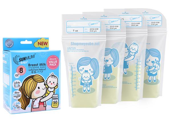 4 hình in trên thân túi trữ sữa sunmum