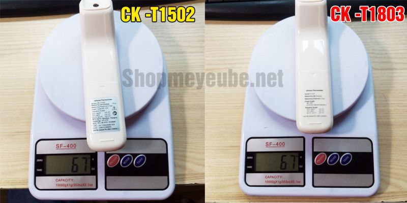 so sánh cân nặng nhiệt kế CK-T1803 và CK-T1502